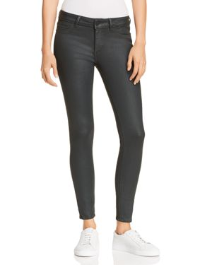 Emma Low-Rise Coated Skinny Jeans, Ivy