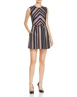 PAULE KA - Striped Jacquard A-Line Mini Dress