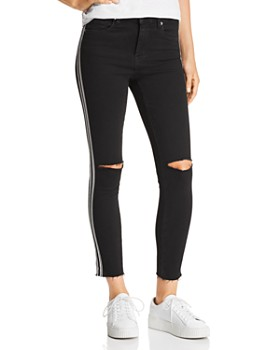 BLANKNYC - Racing-Stripe High-Rise Cropped Skinny Jeans in Black with White Stripe - 100% Exclusive