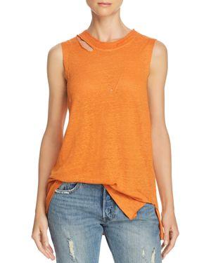 IRO.JEANS Iro. Jeans Wild Distressed Linen Tank in Orange
