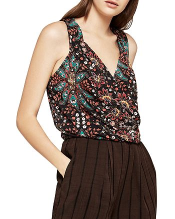 BCBGeneration - Floral Paisley Pleated Crossover Top