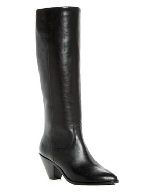 Women'S Lila Leather Slouch High-Heel Boots, Black