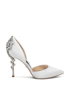 Badgley Mischka - Women's Vogue Pointed Toe Satin High-Heel Pumps