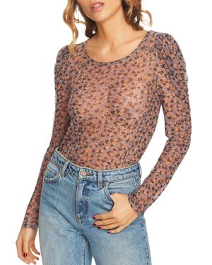 1.state Ditsy Drift Sheer Mesh Top