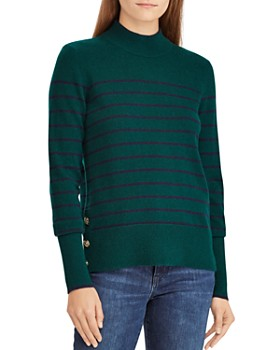Ralph Lauren - Striped Cashmere Mock Neck Sweater - 100% Exclusive