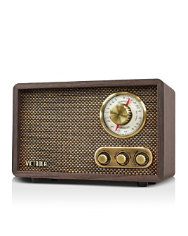 Innovative Technology - Victrola Retro Wood Bluetooth FM/AM Radio with Rotary Dial