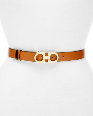 Women's Gancini Slim Reversible Leather Belt by Salvatore Ferragamo