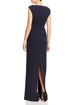 Adrianna Papell - Embellished Crepe Cap-Sleeve Gown