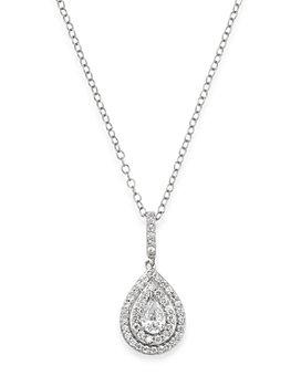 Bloomingdale's - Diamond Teardrop Halo Pendant Necklace in 14K White Gold, 0.50 ct. t.w.