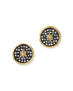 Armenta - 18K Yellow Gold & Blackened Sterling Silver Old World Pavé Champagne Diamond Disc Stud Earrings