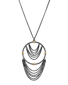 Armenta - 18K Yellow Gold & Blackened Sterling Silver Old World Champagne Diamond Adjustable Chandelier Necklace, 17""