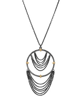 """Armenta - 18K Yellow Gold & Blackened Sterling Silver Old World Champagne Diamond Adjustable Chandelier Necklace, 17"""""""
