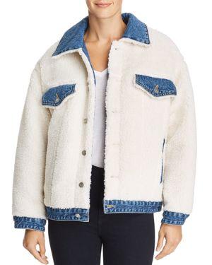 Denim-Trimmed Sherpa Jacket, Blue Denim
