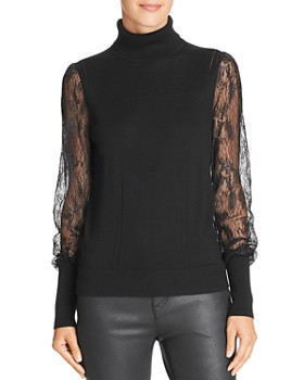 Equipment - Sid Lace-Sleeve Turtleneck Top