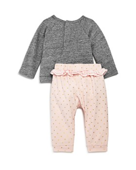 Miniclasix - Girls' Raglan Sweatshirt & Ruffle Trim Dotted Pants Set - Baby