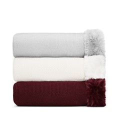 Hudson Park Collection - Faux Fur Trim Throw - 100% Exclusive