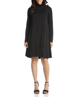 Maggie Turtleneck Trapeze Dress, Black