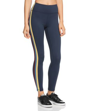 Side-Stripe High-Waist Activewear Tights in Bright Blue