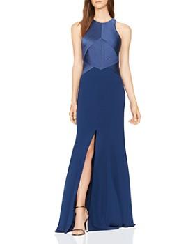 Halston Heritage Sleeveless Satin Bodice Gown