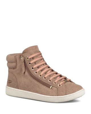 Olive Leather High Top Sneakers