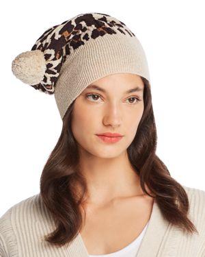 ROSIE SUGDEN Pom-Pom Leopard Cashmere Beanie in Beige/Leopard