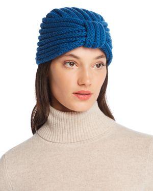 ROSIE SUGDEN Knit Cashmere Turban Hat in Calder Blue