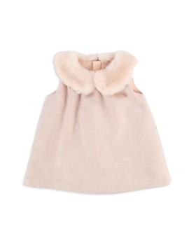 Chloé - Girls' Faux Fur Collar Metallic Thread Tweed Dress - Baby