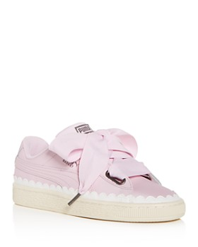 PUMA - Women's Basket Heart Scalloped Leather Lace Up Sneakers