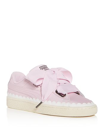 PUMA Women's Basket Heart Scalloped Leather Lace Up Sneakers