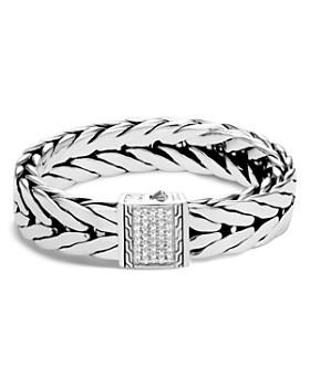 JOHN HARDY - Sterling Silver Modern Chain Pavé Diamond Wide Flat Bracelet