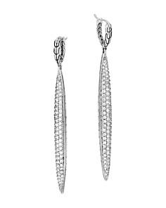 JOHN HARDY - Sterling Silver Classic Chain Pavé Diamond Drop Earrings