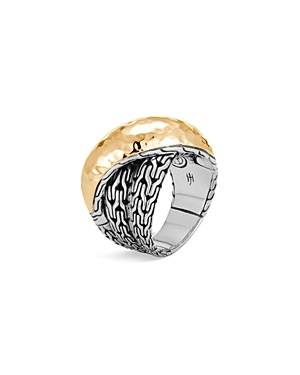 John Hardy Sterling Silver & 18K Bonded Gold Classic Chain Hammered Crossover Ring-Jewelry & Accessories