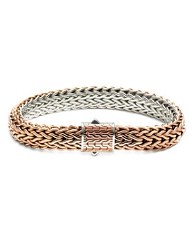 John Hardy - Sterling Silver Classic Chain Bronze Woven Flat Chain Reversible Bracelet