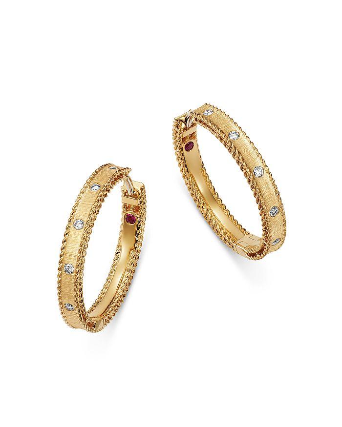 18k Yellow Gold Diamond Princess Hoop Earrings In White