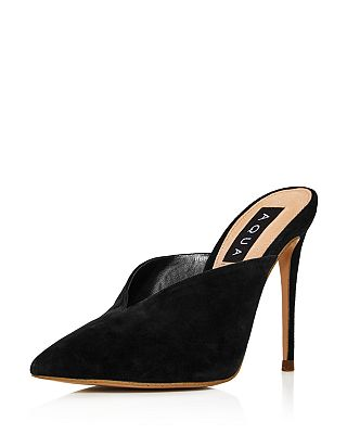 Aqua Womens Flare Suede Pointed Toe High Heel Mules 100