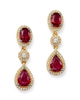 Bloomingdale's - Ruby & Diamond Oval Drop Earrings in 14K Yellow Gold - 100% Exclusive