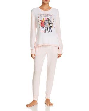 JANE & BLEECKER NEW YORK Shopping & Stripes Sweater-Knit Long Pj Set - 100% Exclusive in Pink