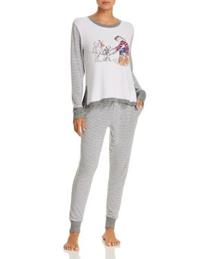 JANE & BLEECKER NEW YORK Shopping & Stripes Sweater-Knit Long Pj Set - 100% Exclusive in Gray Stripe
