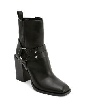 Women'S Isara Leather Harness Block Heel Booties in Black