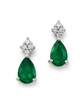 Bloomingdale S Emerald Diamond Teardrop Drop Earrings In 14k White Gold 100 Exclusive