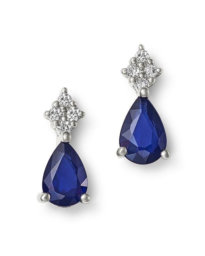 Bloomingdale's - Blue Sapphire & Diamond Teardrop Earrings in 14K White Gold - 100% Exclusive