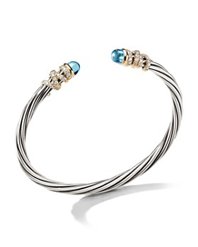 David Yurman - Helena End Station Bracelet in Sterling Silver with Blue Topaz, Diamonds and 18K Yellow Gold, 4mm