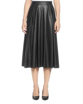 T Tahari - Faux Leather Pleated Midi Skirt