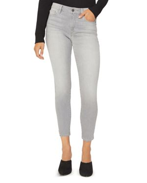 Social Standard Skinny Ankle Jeans In Soft Gray, Plaid Soft Gray