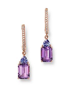 Bloomingdale's - Amethyst, Tanzanite & Diamond Drop Earrings in 14K Rose Gold - 100% Exclusive