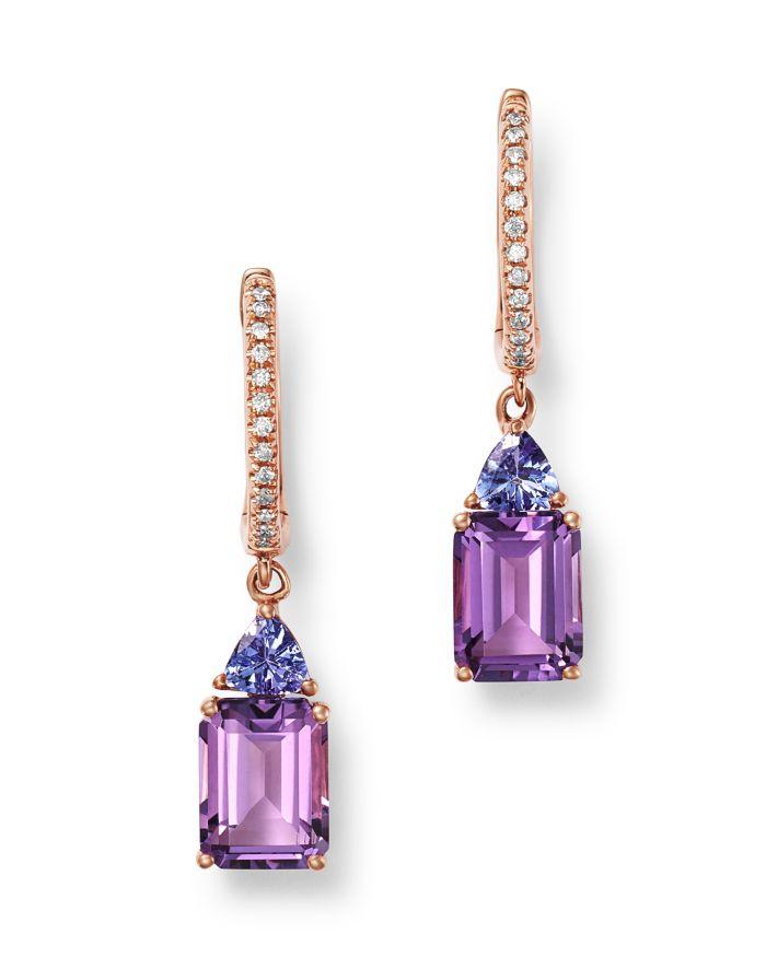 Bloomingdale's Amethyst, Tanzanite & Diamond Drop Earrings in 14K Rose Gold - 100% Exclusive  | Bloomingdale's