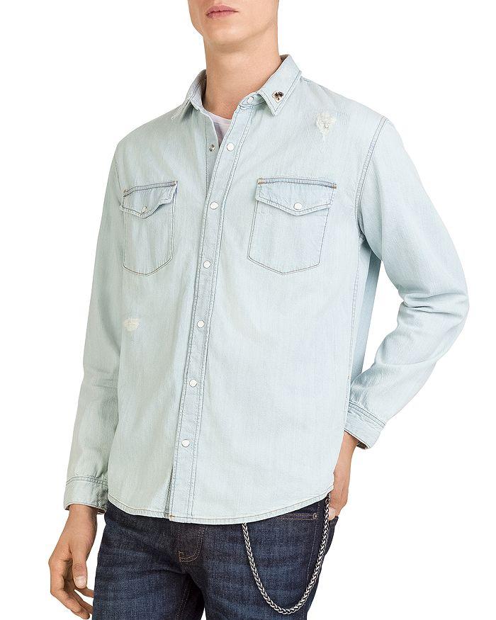 be57d8a546b The Kooples Distressed Denim Shirt   Bloomingdale's