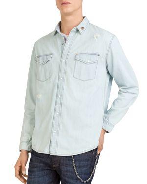 The Kooples Distressed Denim Shirt