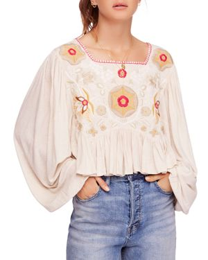 Claudine Embroidered Top, Nude
