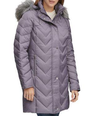 MARC NEW YORK Chevron Down-Fill Faux-Fur Hooded Coat in Gray